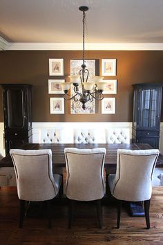 Dining Room makeover Before & After. Great ideas for an open floor plan.