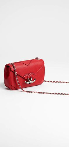 Spring-Summer 2017 Pre-Collection - grained calfskin & silver-tone metal-red