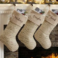 Buy personalized Christmas stockings & add any name to be professionally embroidered in your choice of colors & fonts. Merry Christmas, Coastal Christmas, Winter Christmas, Christmas Home, Christmas Crafts, Christmas Ornaments, Christmas Ideas, Christmas Things, Christmas Towels