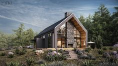 Architecture Discover Single House XI Poland Another Single House CGI for a client based in Poland. Small House Exteriors, Dream House Exterior, Modern Barn House, Modern House Design, Small Contemporary House Plans, Contemporary Cottage, Future House, Design Exterior, Prefabricated Houses
