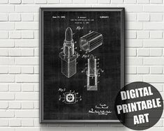 Items similar to Lipstick Print Patent Prints, Printable Wall Art, Lipstick, Printables, Unique Jewelry, Makeup, Handmade Gifts, Etsy, Beauty