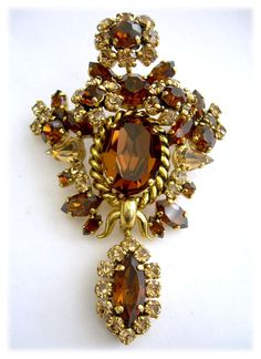 Dior Renaissance-Style Dangle Brooch with Sparkling Amber Crystals, Dated 1964