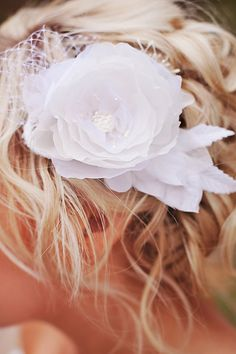 White Wedding hair flower