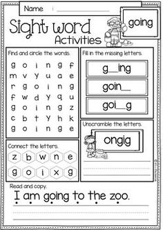 99 Best Sight Word Worksheets Images Preschool Learning
