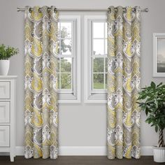 Journee Home Anya 84-inch Grommet Top Printed Curtain Panel