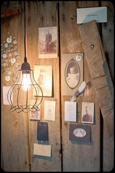 Maison Brocante, old portrait photographs, locker tags and wire cage light fixture