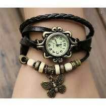 Top Seller Newest Lady Fashion Weave Wrap Around Retro Leather Bracelet Watch!vintage Genuine Leather Bracelet Watch for Ladies! Estilo Hippie Chic, Hippy Chic, Boho Hippie, Estilo Retro, Boho Chic, Bohemian Accessories, Jewelry Accessories, Fashion Accessories, Black Jewelry