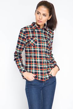 Клетчатая рубашка женская | Женская рубашка в зелено-оранжевую клетку
