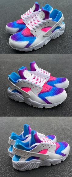 4d13fc00bd5 Nike Air Huarache Customise White Blue Pink Colorful Unisex shoes Free  Shipping For Men and Women only  50