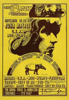 1968 John Mayall / Chicago Transit Authority / The Mugwumps at the Bank in Torrance, CA. Art by Robert A. Wilson.