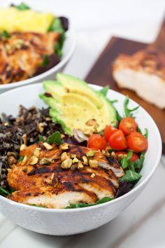 Pineapple-Sriracha Chicken Salad Bowls with Wild Rice