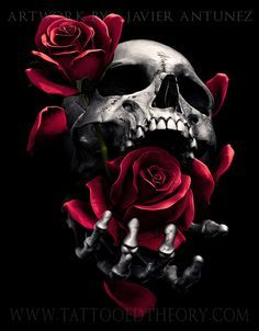 Rendered by Javier Antunez – revisited this older design i did last year, gave it a darker twist Skull Tattoo Flowers, Skull Rose Tattoos, Skull Sleeve Tattoos, Flower Skull, Foot Tattoos, Flower Tattoos, Key Tattoos, Butterfly Tattoos, Side Tattoos