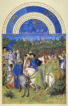 BOOK OF HOURS: SEPTEMBER. The grape harvest at the Chateau de Saumur (Loire Valley, France) in September. Illumination from the 15th century manuscript of the 'Tres Riches Heures' of Jean, Duke of Berry. Artist: Granger, Medium: Photograph - Digital Image