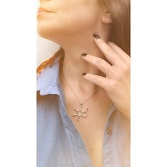 Caffeine molecule silver pendant and necklace Juwele