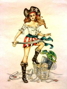 pirate pinup cartoons | Pirate Pin Up Girl by ~ pinkpeony628