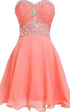 A Line Sweetheart Knee length Watermelon Chiffon Short Homecoming Dress