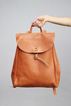 Mochila de couro - Hand Made Leather Backpack #Fashion