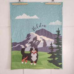 Bernese Mountain Dog Baby Quilt, Mountain Adventure Personalized Handmade quilt, Adventure Nursery Decor, Adventure Time, New Parents Gift This lovely Bernese Mountain Dog Baby Quilt, would make the perfect personalized baby or toddler blanket. Featuring a puppy Bernese Mountain dog surrounded by Bernese Mountain, Mountain Dogs, Parent Gifts, Dog Gifts, Nursery Themes, Nursery Decor, Adventure Nursery, Dog Baby, Patchwork Baby