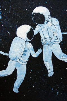 8x10 print - fine art color print - astronauts in love                                                                                                                                                                                 Más