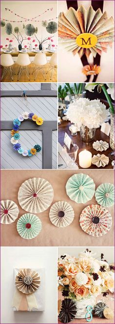Paper Accordion Rosette Decorations:                 Make Your own by utilizing the free PDF at: http://www.paper-source.com/ideas/How-To-Paper-Rosette.pdf
