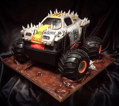 Monster truck cake Nerf Cake, Truck Cakes, Cake Stuff, Cupcake Ideas, Monster Trucks, Birthdays, Food Cakes, Vehicles, Nerf Gun Cake