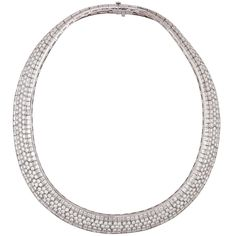 Van Cleef & Arpels Diamond Flexible Necklace | From a unique collection of vintage choker necklaces at https://www.1stdibs.com/jewelry/necklaces/choker-necklaces/