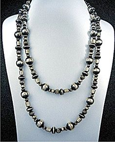 Native American Sterling Silver Necklace 58 inches Long 180 Grams Beads are 26mm 3/8 inch 8mm 7mm 6mm large hook clasp. Can be worn double or triple.