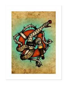 Sea Legs, Neo-Traditional Tattoo Flash, Nautical, Old School, Art Print 12x16. $35.00, via Etsy.