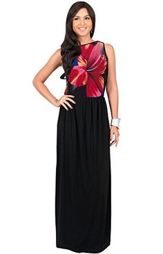 KOH KOH Petite Women Long Sleeveless Summer Floral Printed Casual Beach Cute Boho Sundress Hawaiian Party Gown Gowns Maxi Dress Dresses Red and Black S 46 1 -- You can get more details by clicking on the image. (This is an affiliate link)