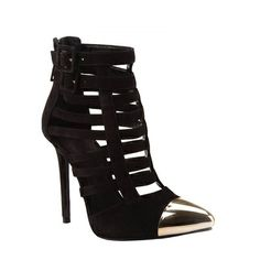 Caged Bootie Shoe with a metal pointed cap toe.