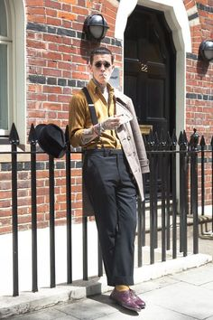Jimmy Q-Street Style of London Jimmy Q, Mode Rockabilly, Rockabilly Fashion, Striped Long Sleeve Shirt, Long Sleeve Shirts, Long Sleeve Shirt Dress, Shirt Sleeves, Tokyo Street Fashion, London Mens Fashion