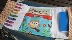 Owl and bird - Children's activity wallet - activity book, pencils, notepad. $30.00, via Etsy shop 'DandelionThread'