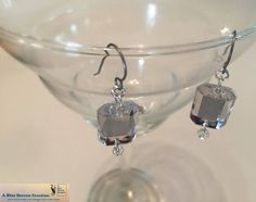 e3d03aad3 Dangle Mirror-like Crystal Earrings, with Three Earwire Options:  Leverback Titanium Clip-on Earwire; Reflective, Shiny, Sparkle