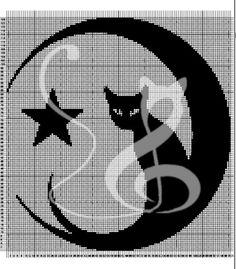filet crochet star | Filet crochet Cat with Moon and Star - Kalimbra - Curtains