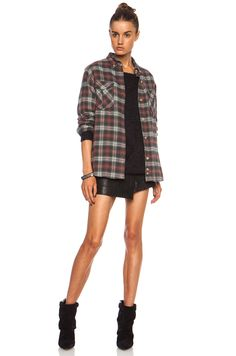 Isabel Marant Etoile Vadisse Check Cotton-Blend Shirt in Brick | FWRD [5]