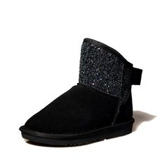 AmoonyFashion Women's Frosted Round Closed Toe Solid Low-heels Boots -- Check out the image by visiting the link.