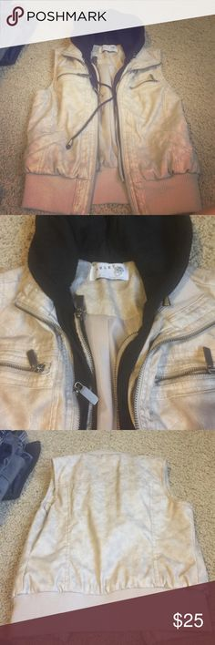 Ashley faux leather vest with hood Only worn once! Ashley by twenty six international vest purchased from buckle. Like new, no signs of wear, non smoking home. Make an offer! Buckle Jackets & Coats Vests