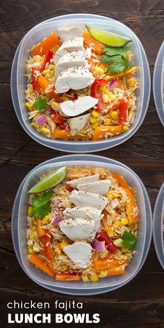 Chicken Fajita Lunch Bowls (Make Ahead). Make this recipe on Sunday and have all of your work lunches ready for the week! Chicken Fajita Lunch Bowls (Make Ahead). Make this recipe on Sunday and have all of your work lunches ready for the week! Clean Eating Chicken, Chicken Meal Prep, Clean Eating Recipes, Chicken Recipes, Healthy Eating, Cooking Recipes, Baked Chicken, Make Ahead Chicken Recipe, Clean Eating Lunches