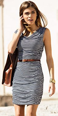 My God, didn't anyone ever tell her that horizontal stripes make you look fat? :-)