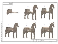 cnc vector for plywood horse coffee table 3d model dxf pdf 7