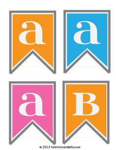 Free alphabet party pennants in three different colors at tatertotsandjello.com