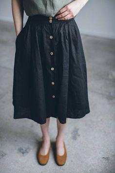 Linen skirt/ Linen skirt with buttons/ Washed linen skirt/ Soft linen skirt/ Basic linen skirt/ #24Z JUMANHI