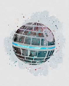 Death Star Star Wars Watercolor Art - VividEditions
