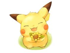 Adorable Pikachu, here's a flower for you , Pokemon Pikachu Drawing, Pikachu Art, Pikachu Chibi, Kawaii Drawings, Cute Drawings, Kawaii Cute, Kawaii Anime, Images Kawaii, Pokemon Mignon