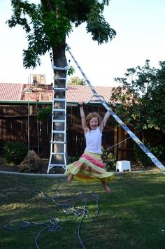 Use your slackline for zip-lining instead. 37 Ridiculously Awesome Things To Do In Your Backyard This Summer Backyard Playground, Backyard For Kids, Backyard Games, Backyard Projects, Outdoor Projects, Backyard Landscaping, Backyard Parties, Backyard Zipline, Backyard Ideas