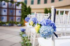 ♥ HYDRANGEAS at the aisle (Floral Design: Twisted Stems/ Floral Design: Blooms Of Hope) - Boston Marathon Survivor + Nurse Tie the Knot - LolagraceEVENTS - Prudente Photographers