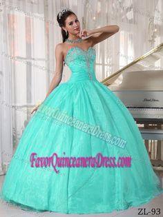 Blue Sweetheart Taffeta and Organza Aqua Quinceaneras Dress with Appliques