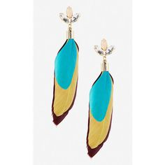 Express Stone And Feather Drop Earrings (€18) ❤ liked on Polyvore featuring jewelry, earrings, blue, post earrings, drop earrings, feather earrings, blue drop earrings and dangle earrings