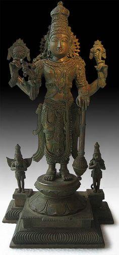 Antique Indian Chola Bronze Statue Vishnu Garuda and Hanuman Origin: India. Krishna Statue, Indian Gods, Indian Art, Bronze Sculpture, Sculpture Art, Chola Dynasty, Hindu Deities, Hinduism, Buddha