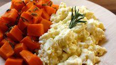 Scrambled egg whites with steamed sweet potatoes breakfast recipe.